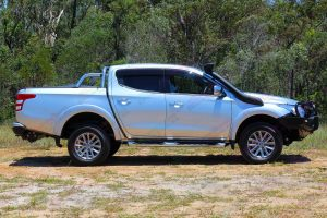 Mitsubishi Triton MQ Silver Dual Cab - Side View - Fitted with the Ironman Bullbar and TJM Snorkel