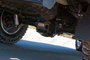 Closeup view of the heavy duty Stealth Diff Guard fitted to the PX Ford Ranger differential