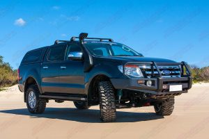 Front right side view of a black PX Ford Ranger (Dual Cab) fitted with a 2 inch Superior Engineering nitro gas lift kit