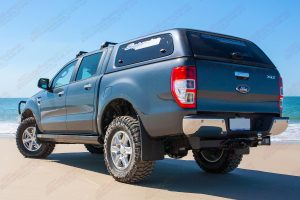 """Right rear end view of the PX Ford Ranger (Dual Cab) on the beach fitted with a 2"""" inch Nitro Gas Lift Kit (Stage 2)"""