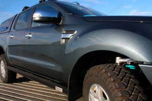 Close up view of a Superior Rock Slider fitted on a PX Ford Ranger dual cab