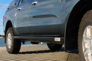 Close up view of a Superior Stealth Rock Slider fitted on a PX Ford Ranger dual cab