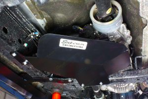 Close up view of a Superior Stealth transfer case guard fitted on a PX Ford Ranger diff