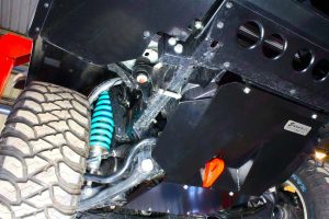 Close up view of a Superior Stealth engine guard and rated recovery point fitted on a PX Ford Ranger diff