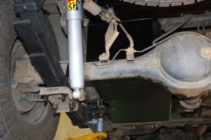 Close up view of the Tough Dog rear shocks and leaf springs fitted to the RC Holden Colorado