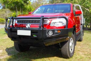 Front view of the Ironman 4x4 Black Deluxe Commercial Bullbar on the front of a RG Colorado