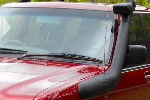 Closeup view of a TJM Airtec Snorkel fitted to a Holden Jackaroo 4WD