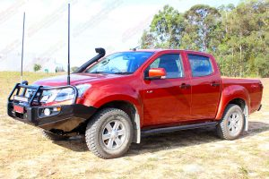 Front left side view of a Isuzu D-Max dual cab ute fitted with a Bullbar, side steps, towbar, snorkel and lightbar