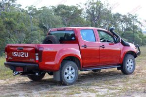 Rear right end view of a Isuzu D-Max dual cab ute fitted with an Ironman Bullbar, side steps, towbar, TJM Airflow Snorkel and a Superior lightbar