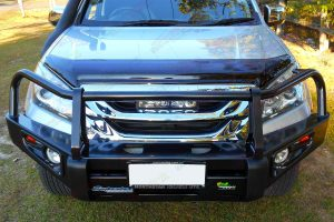 High angle front view of a silver Isuzu MU-X wagon fitted with a Black Ironman Deluxe Commercial Bullbar, fog lights and TJM air snorkel