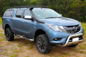 "Right front angle view of a Series 2 Mazda BT-50 dual cab fitted with a Superior 2"" inch lift kit"