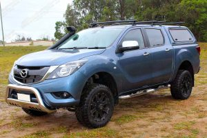 """Left front angle view of a Series 2 Mazda BT-50 dual cab fitted with a Superior 2"""" inch lift kit"""