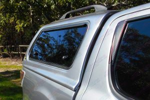 Rear side view of the Ironman 4x4 ute canopy fitted to the Mazda BT-50 dual cab ute