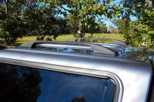 Top closeup view of the Ironman Ute canopy showing the heavy duty roof racks