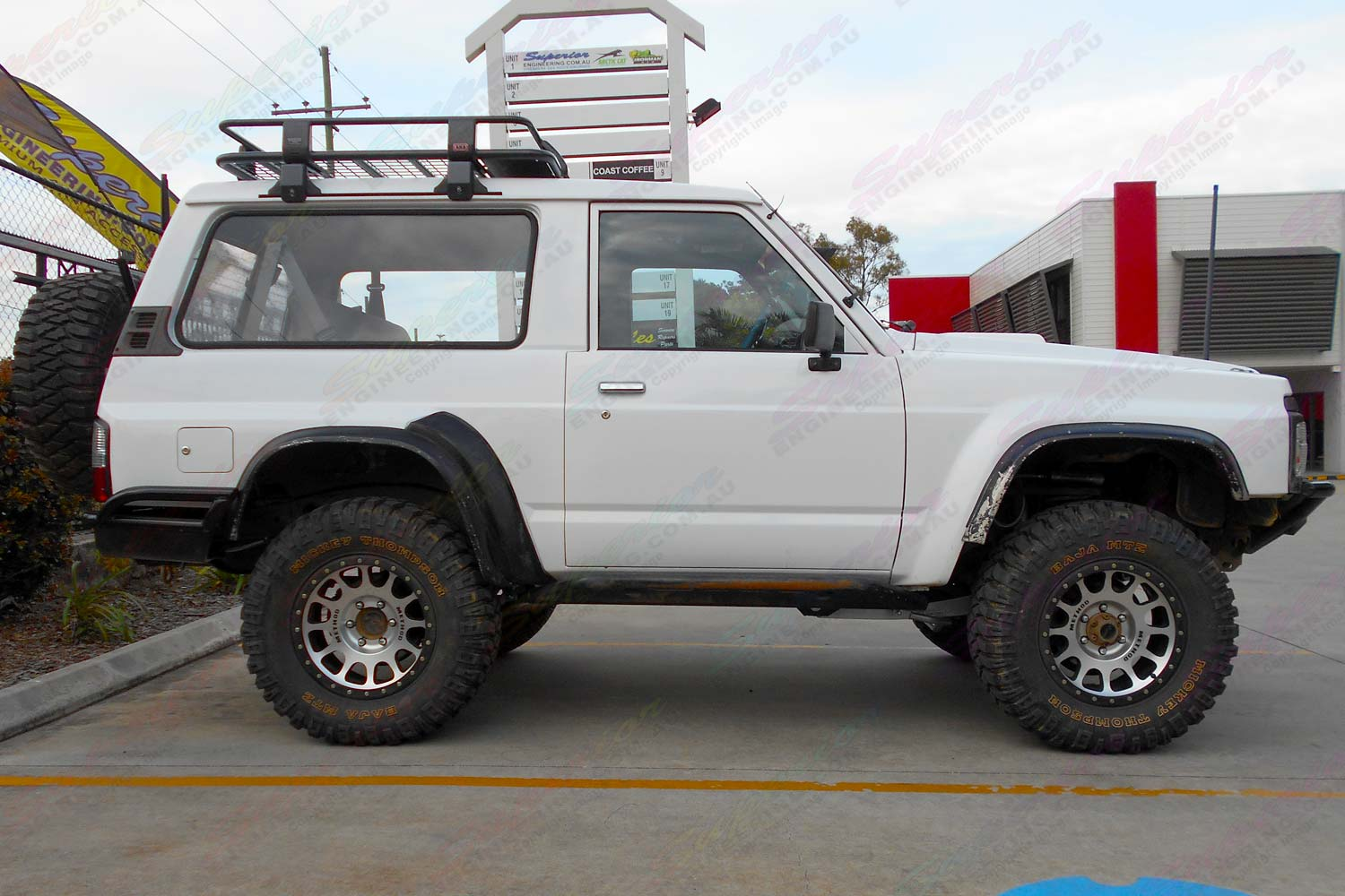 "Right side view of a GQ Nissan Patrol Shorty fitted with a 3"" inch Superior Custom built lift kit"