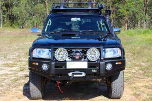 Full front view of a GU Nissan Patrol Wagon fitted with a complete range of 4WD Accessories