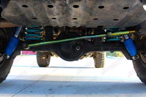 Closeup view of the Superior Panhard Rod, Coil Springs and Shocks fitted to the the GU Nissan Patrol 4WD