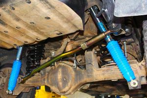 Closeup view of the Superior Panhard Rod, Coil Springs and Nitro Gas Shocks fitted to the GU Nissan Patrol Wagon