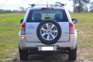 Rear end view the Suzuki Grand Vitara fitted with the heavy duty Ironman 4x4 45mm Nitro Gas lift kit