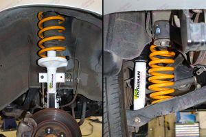 Closeup view of the Ironman 4x4 nitro gas shock, strut and coil springs fitted to the Suzuki Grand Vitara