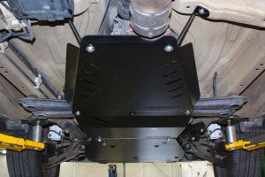 Closeup view of the Ironman 4x4 Engine Bay and Transmission Guard fitted to the underside of the Suzuki Grand Vitara