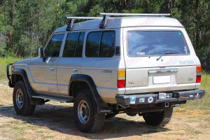 Rear left side view of a 60 Series Toyota Landcruiser fitted with a heavy duty EFS 2 Inch Leaf Spring Lift Kit