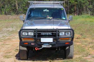 Full front view of the 60 Series Toyota Landcruiser fitted with a heavy duty EFS 2 Inch lift kit from Superior Engineering