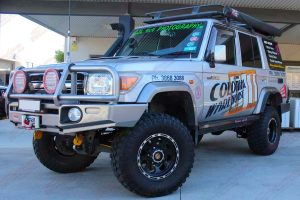 The 76 Series Toyota Landcruiser on display out the front of the Deception Bay 4x4 retail showroom after a complete fitout