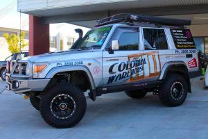 The 76 Series Toyota Landcruiser on display out the front of the Deception Bay 4WD retail showroom after a complete suspension and accessory fitout