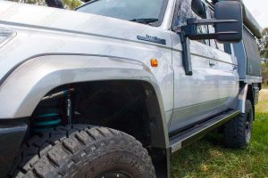 Closeup of the left hand side Stealth Rock Slider fitted to the 79 Series Toyota Landcruiser 4WD