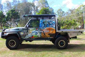 Left side view of the Top of Down Under 79 Series Toyota Landcruiser fitted with Ironman and Superior 4WD accessories and suspension parts