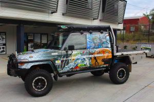 The Top of Down Under 79 Series Toyota Landcruiser on display out the front of the Deception Bay 4WD retail showroom