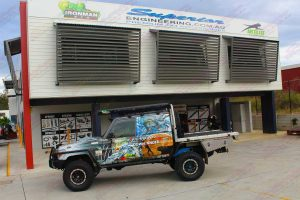 The Top of Down Under 79 Series Toyota Landcruiser on display out the front of the Superior Engineering Deception Bay 4WD retail showroom