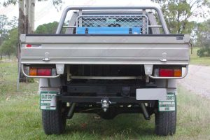 Rear view of a GU Nissan Patrol single cab ute after being fitted with a heavy duty 4 inch Superior Superflex lift kit