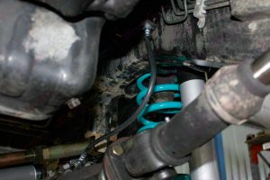 Closeup view of a Superior Extended Brake Line fitted to a GU Nissan Patrol ute