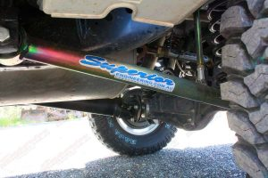 Closeup view of the heavy duty rear Superior lower control arm fitted to the GU Nissan Patrol wagon
