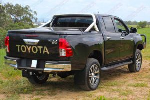 Rear right end view of a black Toyota Hilux Revo (Dual Cab) fitted with a premium Bilstein 2 inch lift kit