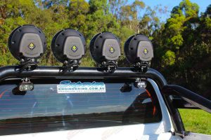 Closeup view of the back of some Lightforce HID LEDs mounted to the Ironman 4x4 sportsbar fitted on a current model Toyota Hilux Revo