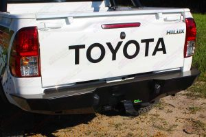 Closeup view of the Ironman 4x4 rear protection tow bar fitted to the rear of a current model Toyota Hilux Revo four wheel drive