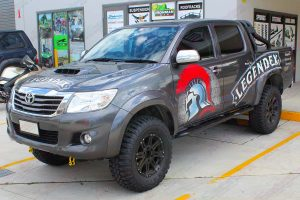 Front left side view of the Legendex dual cab Toyota Hilux (Vigo) fitted with a premium Superior nitro gas lift kit and Maxxis Bighorn tyres