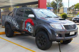 Front right side view of the Legendex dual cab Toyota Hilux (Vigo) fitted with a premium Superior nitro gas lift kit and Maxxis Bighorn tyres