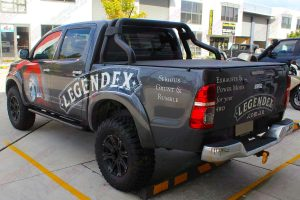 Rear left end view of the Legendex dual cab Toyota Hilux (Vigo) fitted with a premium Superior nitro gas lift kit and Maxxis Bighorn tyres