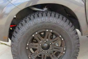 Closeup view of a Maxxis Bighorn tyre fitted to the Legendex Toyota Hilux