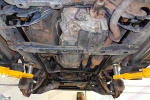 Closeup view of a pair of heavy duty Superior torsion bars fitted to a 100 Series Toyota Landcruiser 4wd