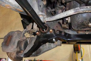 Closeup view of a heavy duty Superior torsion bar reinforcing kit fitted to a 100 Series Toyota Landcruiser 4wd