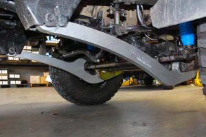 Closeup view of a set of Superflex Radius Arms fitted to a 76 Series Toyota Landcruiser 4wd