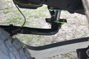 Closeup under vehicle view of a superior swaybar extension fitted to the single cab 79 Series Landcruiser