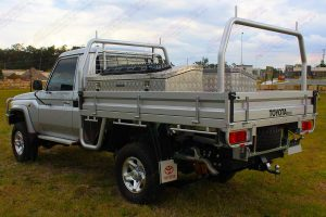 Left rear side view of a 79 Series Toyota Landcruiser (single cab) ute fitted with 3 inch Superior Nitro Gas lift kit
