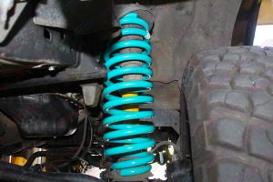 Closeup view of the Dobinsons 4 inch coil spring fitted to the 80 Series Toyota Landcruiser
