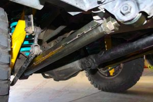 Closeup view of the Superior adjustable rear lower control arm fitted to the 80 Series Toyota Landcruiser